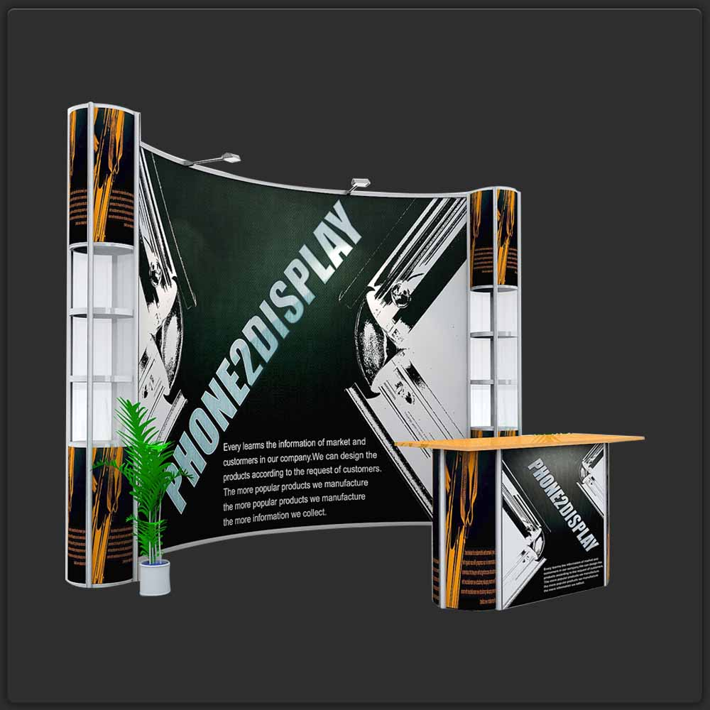 3m backdrop pop up showcase booth/ standard curved