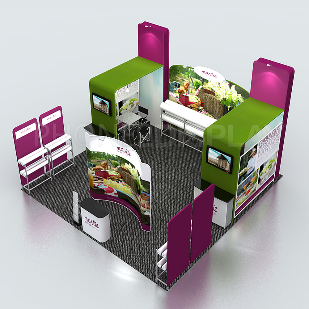 6x6m top sale fabric booth/ 3 open style