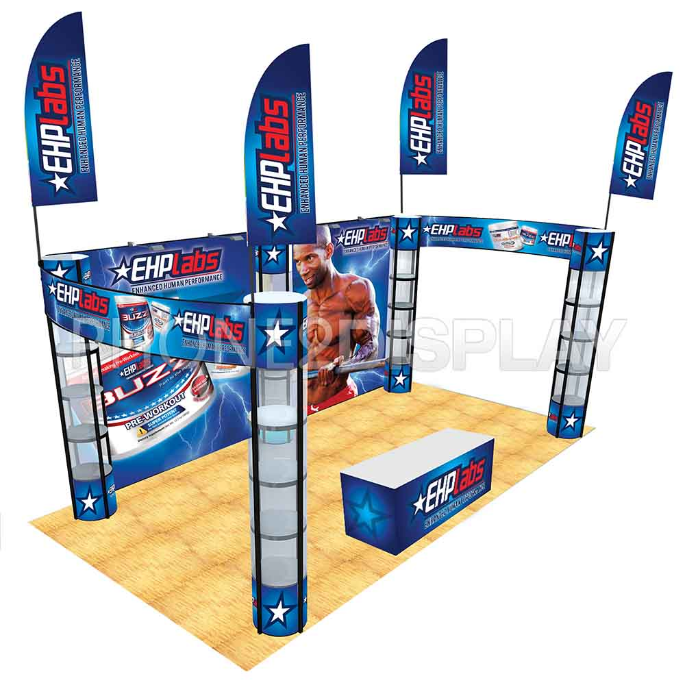 20x10ft folding column booth/banner style