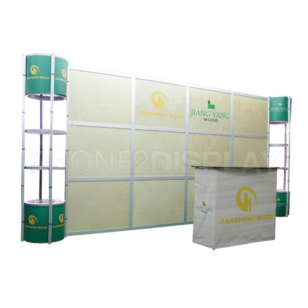 20ft dropback wall booth/ wooden panel style