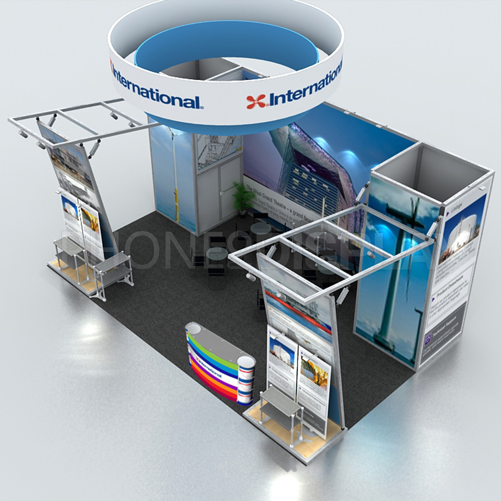 20*30ft extrusion frame booth/ with hanging banner